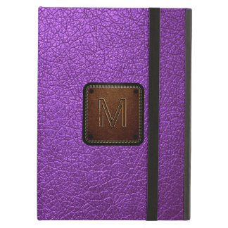 Purple leather look brown tag #2 iPad air cover