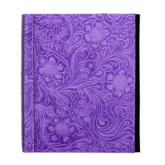 Purple Leather Look-Embossed Floral Design iPad Cases