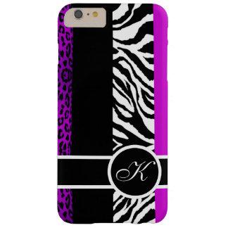 Purple Leopard and Zebra Animal Print Monogram Barely There iPhone 6 Plus Case