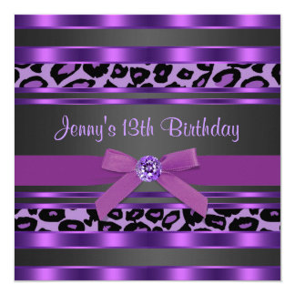 Purple Leopard Girls 13th Birthday Party 13 Cm X 13 Cm Square Invitation Card