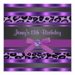 Purple Leopard Girls 13th Birthday Party Invitations