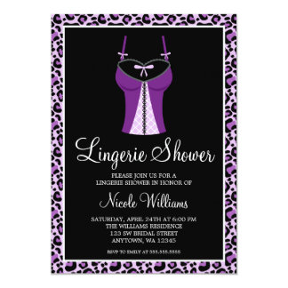 Purple Leopard Lingerie Bridal Shower 13 Cm X 18 Cm Invitation Card