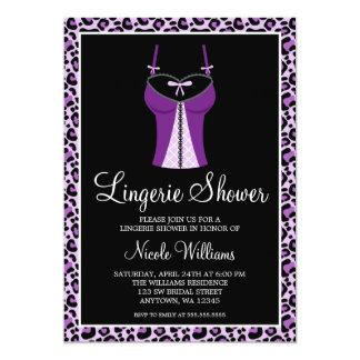 Purple Leopard Lingerie Bridal Shower 5x7 Paper Invitation Card