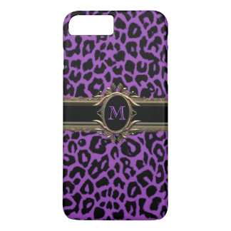 Purple Leopard Monogram Animal Print iPhone 7 Case