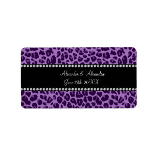 Purple leopard pattern wedding favors address label