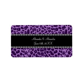 Purple leopard pattern wedding favors address label