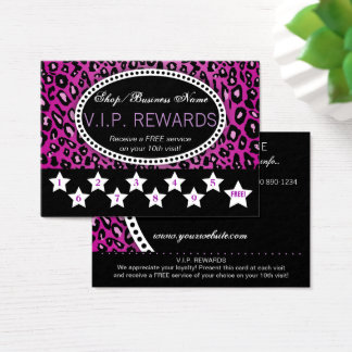 Purple Leopard Print 10th Visit Loyalty Rewards Business Card