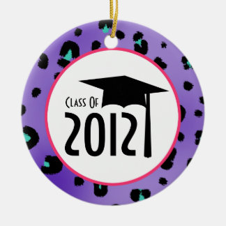 Purple Leopard Print Class Of 2012 Graduation Round Ceramic Decoration