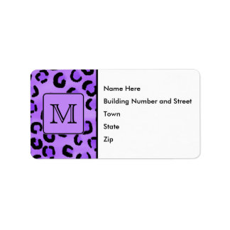 Purple Leopard Print Custom Monogram. Label