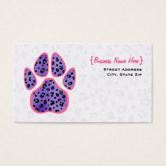 Purple Leopard Print Paw Print Business Card