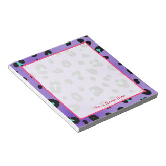 Purple Leopard Print Personalized Notepad