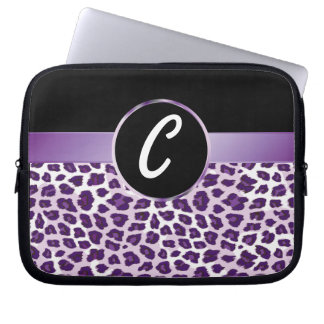 Purple Leopard & Ribbon Electronics Bag Laptop Computer Sleeves