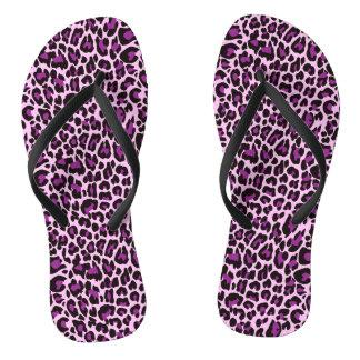 Purple Leopard Skin Print Thongs