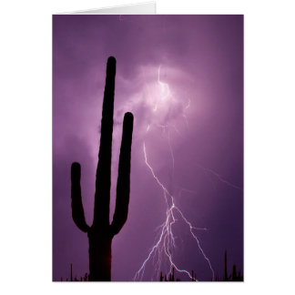 Purple lightning and cactus, AZ Card