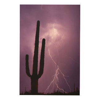 Purple lightning and cactus, AZ Wood Wall Art