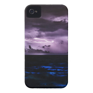 Purple Lightning at Night iPhone 4 Covers