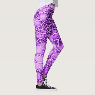 Purple lightning, bolts pattern, violet thunders leggings