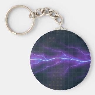 Purple Lightning Electricity Backdrop Basic Round Button Key Ring