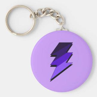 Purple Lightning Thunder Bolt Basic Round Button Key Ring