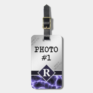 Purple Lightning with Monogram and Your Photos Luggage Tag