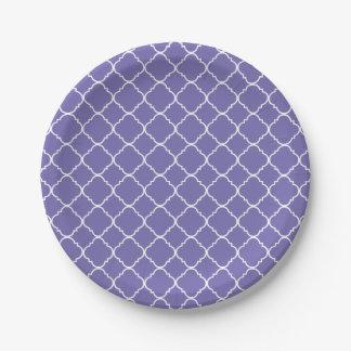 Purple Lilac and White Quatrefoil Paper Plate