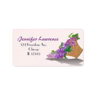 Purple Lilac Basket Address Labels | Customize