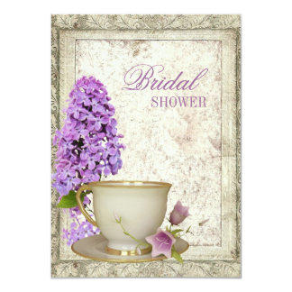 purple lilac Bridal Shower Tea Party Invitation