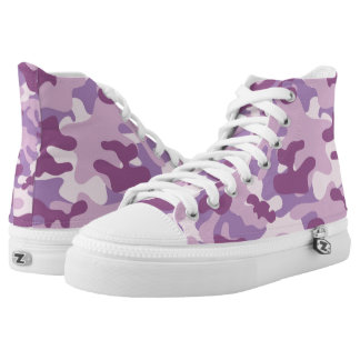 Purple Lilac Color Camouflage Pattern High Tops