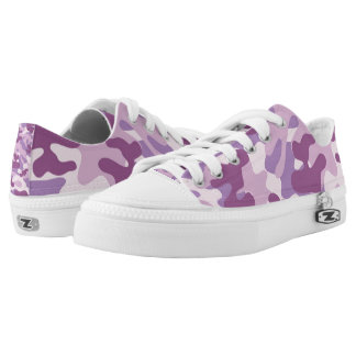 Purple Lilac Color Camouflage Pattern Low Tops