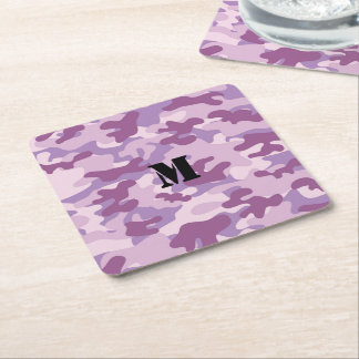 Purple Lilac Color Camouflage Pattern Monogrammed Square Paper Coaster