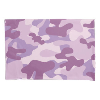 Purple Lilac Color Camouflage Pattern Pillowcase