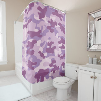 Purple Lilac Color Camouflage Pattern Shower Curtain