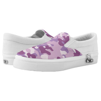 Purple Lilac Color Camouflage Pattern Slip-On Shoes
