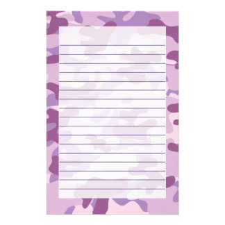 Purple Lilac Color Camouflage Pattern Stationery