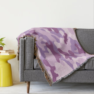 Purple Lilac Color Camouflage Pattern Throw Blanket