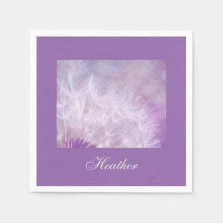 Purple Lilac Dandelion Bohek Paper Napkin