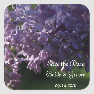 Purple Lilac Flowers Wedding Save the Date Square Sticker