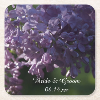 Purple Lilac Flowers Wedding Square Paper Coaster