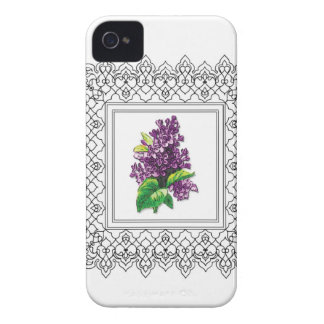 purple lilac frame iPhone 4 Case-Mate cases