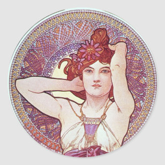 Purple Lilac mucha Art Classic Round Sticker