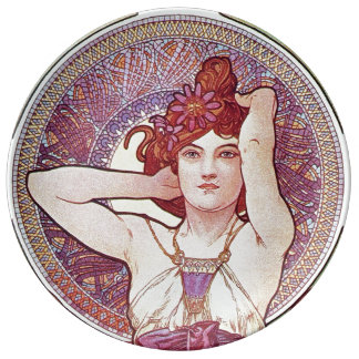 Purple Lilac mucha Art Porcelain Plate