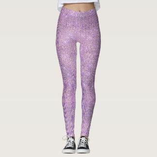 Purple Lilac Pastel Diamond Sparkly Sequin Glam Leggings