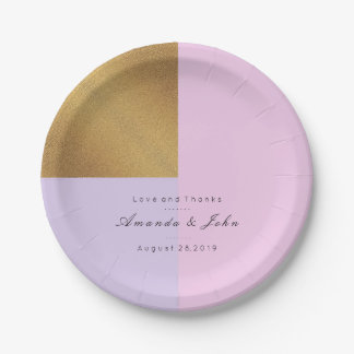 Purple Lilac Pink Gold Pastel Bridal Amethyst Glam 7 Inch Paper Plate