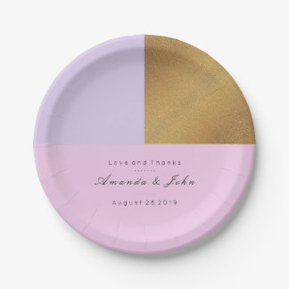 Purple Lilac Pink Gold Pastel Bridal Wedding Metal Paper Plate