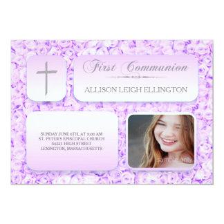 Purple Lilac Roses FIrst Communion Custom Photo 13 Cm X 18 Cm Invitation Card
