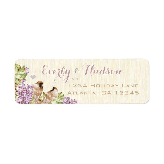 Purple Lilac Vintage Birds Labels