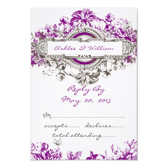 Purple Lilac Vintage Floral Wedding RSVP Card