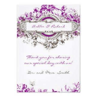 Purple Lilac Vintage Floral Wedding Thank You Card