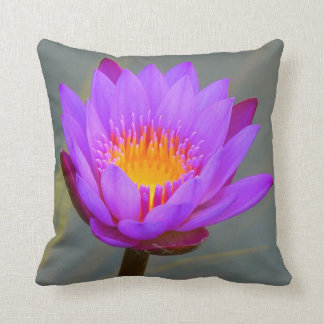 PURPLE LILAC WATER LILY FLOWER PILLOW CUSHION