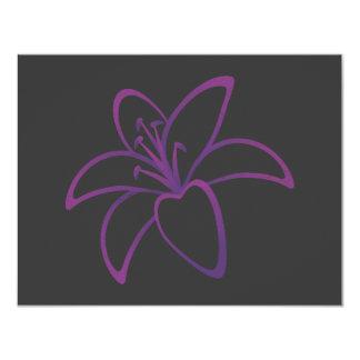 Purple Lily 11 Cm X 14 Cm Invitation Card